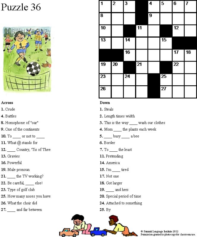 Large Print Easy Crossword Puzzles Printable | Search Results ...
